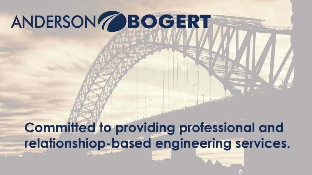 Slide depicting a bridge and showcasing the Anderson Bogert's commitment to relationship